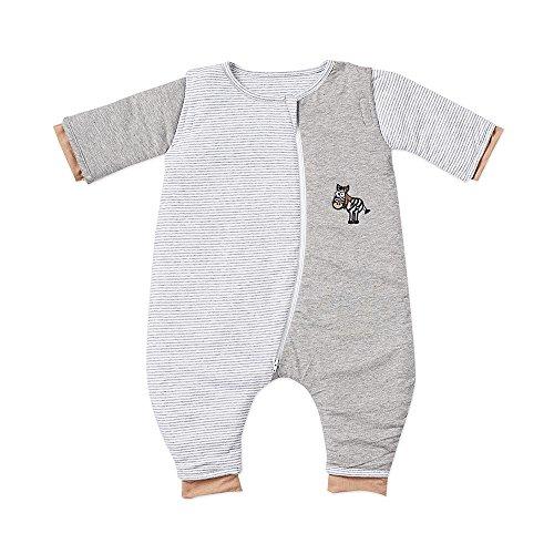 Gesslein 753108 Bubou Babyschlafsack mit Beinen und abnehmbaren Ärmeln: Temperaturregulierender Ganzjahreschlafsack, Baby Größe 110 cm, grau/weiß gestreift mit Zebra