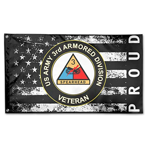 P-flager Proud American Flag with US Army Veteran 3rd Armored Division Flag 3x5 Ft