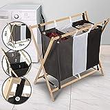 Jago Wäschesortierer - mit 3 Fächern, aus Holz, dreifarbig, ca. 120 l Volumen, Größe (L/B/H): 85/43/81cm - Wäschekorb, Wäschebox, Wäschesammler