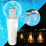 Pool Chlorine Floater, Chlorine Dispenser with Solar Pool Lights Ball, Extra-large Capacity Chemical Bromine Holder of 6 3'Chlorine Tablets with Flame Solar Lights Outdoor for Spa/Hot Tub/Pool/Garden