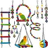 Giochi per Uccelli pappagalli, 10 Pezzi Trespoli e posatoi Giocattoli Gabbia, Affidabile e Masticabile| Altalene Ponte Sospeso Campana Perline Legno ECC per Piccoli e Medio Uccelli Parrocchetti