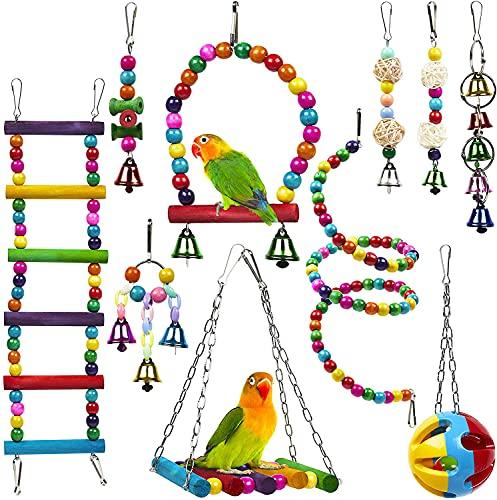 Juguetes para Pájaros, 10 Piezas Perchas Pájaros Juguetes con Campanas, Escalera de Madera, Columpios, Hamaca de Madera, Que cuelga la Perca Juguete para pequeños y medianos Loros de Aves