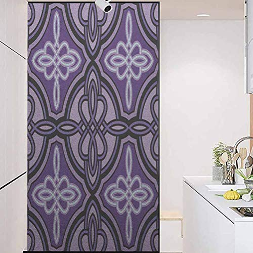 wonderr Stained Glass Window Film, Celtic Unique Celtic Knot Figures with Swirling and T, Static Cling Decor Window Sticker for Home and Offic, 23.6' Wx78.7' Linches