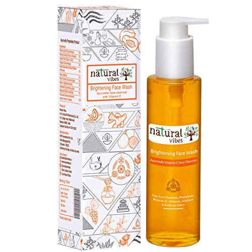 Natural Vibes ~ Ayurvedic Vitamin C Brightening & Glow Face Wash    Reduces Sun & Pollution damage,LightenPigmentation & Improves Complexion   Dry, Oily & Sensitive Skin Types  Paraben & Silicone free   