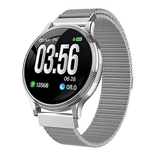 GKSS MK08 Smart Watch BT Fitness Tracker Ondersteuning Notify Ultra-dunne ronde Smartwatch voor Samsung/Sony Android Mobiles & IPhone, Zilver