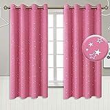 BGment Vorhänge Babyzimmer Dekorativ und Lichtundurchlässig mit Ösen rosa 2er-Set Verdunklungsgardine Ösenschal Dekoschal Verdunkelungsvorhänge(2X H 137 X B 117cm,Rosa)