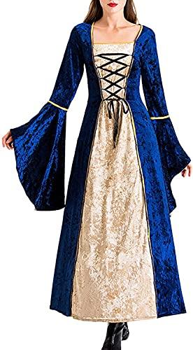 Babaseal Disfraz gtico victoriano vestido medieval irlands sobre tnica larga cosplay retro vestido, Azul marino/flor y brillo, Large