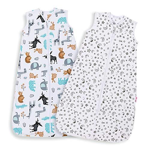 Licitn Saco de Dormir para Bebé - 2 PCS 0.5 Tog Saco de Dormir de Algodón Unisex para Bebés de 18 a 36 Meses, Ajustable 90-110cm para Primavera, Verano