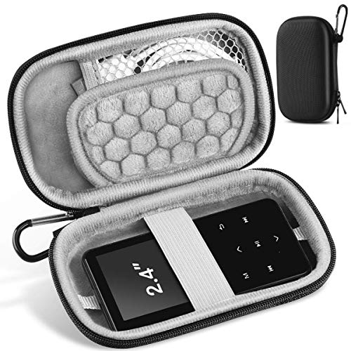 AGPTEK 2.4 inch MP3 Player Case, Portable Music Player Case with Metal Carabiner Clip for iPod Nano, iPod Shuffle- Black