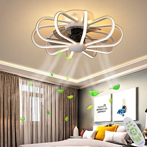 LED Deckenleuchte Deckenventilatoren Mit Beleuchtung 80W Creative Invisible Fan Fernbedienung Dimmbar Ultra-Leise Kann Timing Fan Kronleuchter Modernes Wohnzimmer Schlafzimmer Fan Lampe Φ60,Weiß