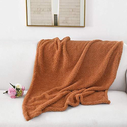 NMDCDH Warme Fleece-Haustier-Hundekatze-Decken-Haustier-Bett-Matte, die tief schläft Weiche Winter-wärmende Starke Abdeckungen für große Hunde-Feste Katzen-Matratze, Hellbraun, 60X80CM