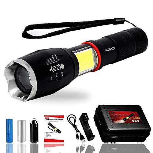 Aukelly LED Linterna de Mano Resistente al Agua con Batería Recargable,con 5 Modos,linterna LED recargable,impermeable IP65,Perfecta para Ciclismo,Camping, Montañismo