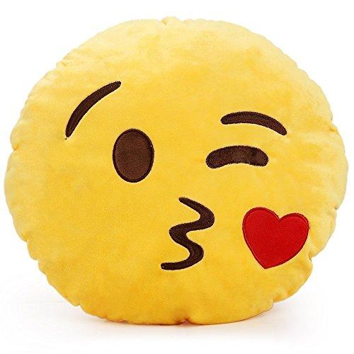 """minifamily® 32cm Emoji-Kissen Smiley Emoticon Kissen gefüllt """"weichen Plüsch Spielzeug Puppe Geschenk Home Decor (Kiss)"""