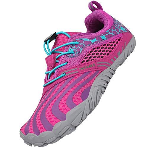 SAGUARO Barfussschuhe JungenMädchen Traillaufschuhe Kinder Minimalistische Leicht Weich Fitnessschuhe Gymnastikschuhe Sommer Wanderschuhe Sportschuhe Outdoor Schuhe, Pink 28