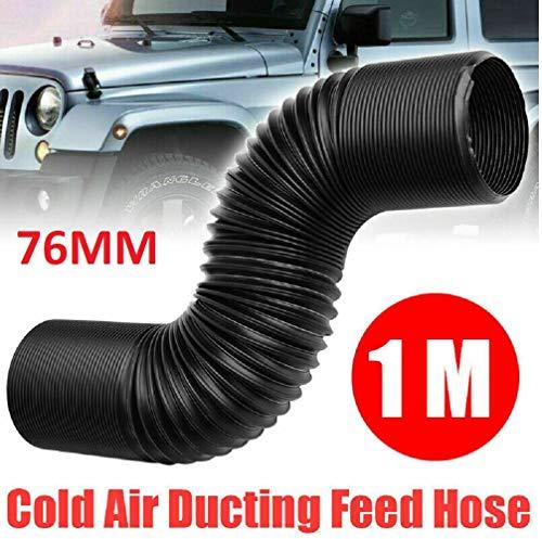 SANWAN - Tubo de admisión de aire frío flexible con filtro de aire frío para tuberías de alimentación de conductos de tubería de alimentación cerrada, 76 mm, 1 m, color negro