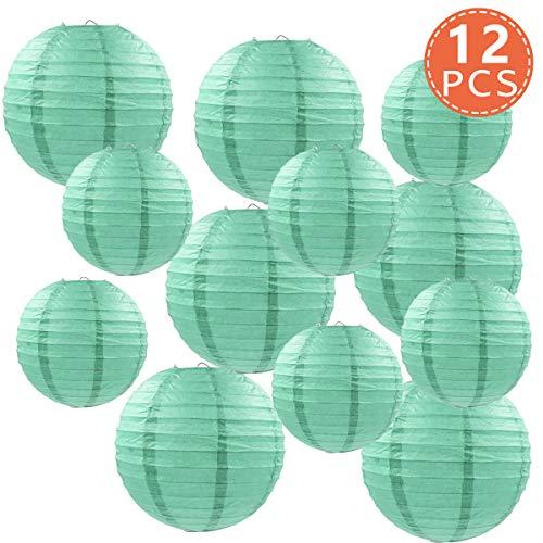 Farolillos de papel, 12 paquetes de 8 cm y 10 pulgadas, color verde menta chino redondo de papel para colgar decoraciones para cumpleaños, novia, boda, baby shower, festival, decoración de fiesta