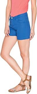 Campus Sutra Royal Blue Pro Solid Women's Chino Shorts. Blue