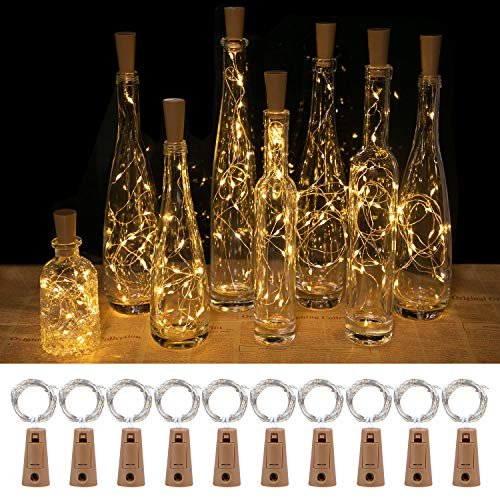 Wine Bottle Lights with Cork, 2M 20 LED Fairy Lights Battery Operated with Silver Wire String Lights for DIY Party Christmas Holiday Wedding Indoor Outdoor (Warm White)