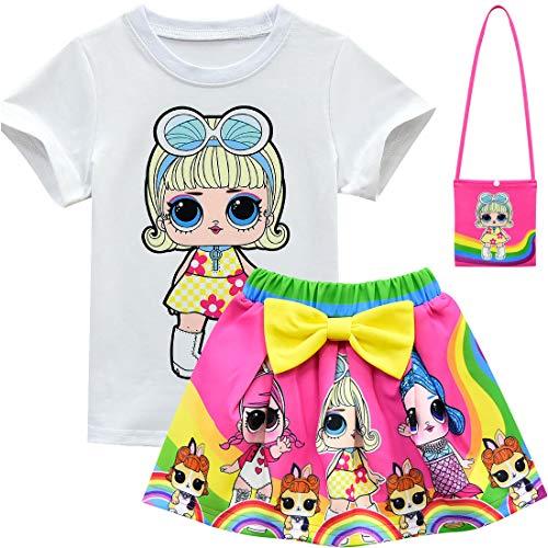 ALAMing T-Shirt mit kurzen Ärmeln für Mädchen, Motiv LOL Surprise Doll,Style02,5-6 Jahre (Etikette 130)