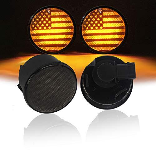 u-Box Smoked Turn Signal Front Lights Amber LED Indicator Blinker for Jeep Wrangler JK 2007-2018 - US Flag