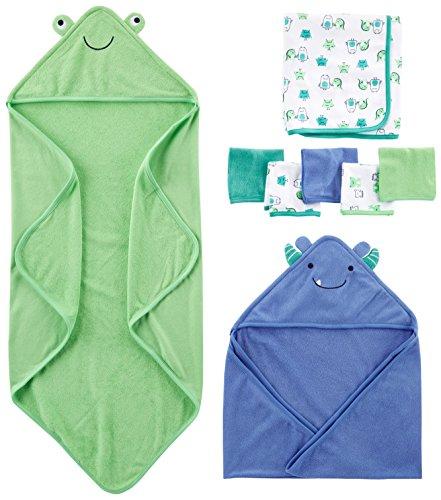 Simple Joys by Carter's - Juego de toallas y paños (8 piezas) ,Azul/Verde ,One Size