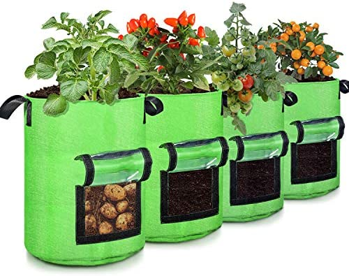 10 Gallon Potato Grow Bags 4 Pack Two Sides Window Garden Planting Bag with Durable Handle Thickened product image