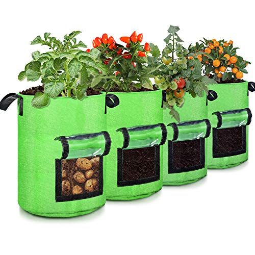 10 Gallon Potato Grow Bags, 4 Pack, Two-Sides Window Garden Planting Bag with...