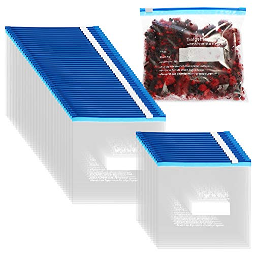 com-four® 60x Bolsas de Congelación 1 Litro - Bolsas Resellables para Congelar - Bolsas de Conservación para el Almacenamiento de Alimentos, -40°C (1 L - 60 piezas)