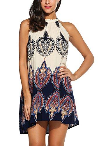 Bluetime Women's Casual Loose Halter Neck Printed Short Shift Dress Sundress (XL, Dark Blue)