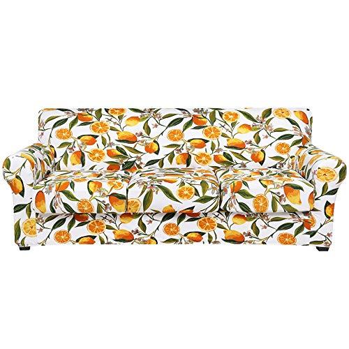 Hyha - Copridivano elasticizzato stampato, motivo floreale, 4 pezzi, lavabile, con cinghia elastica per divano a 3 cuscini (divano, limone)