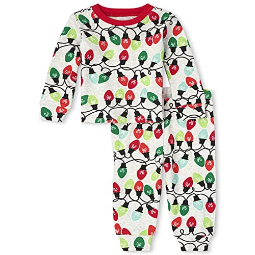 The Children's Place Baby and Toddler Holiday 2 Piece Snug Fit Cotton Pajamas, Glow Christmas...