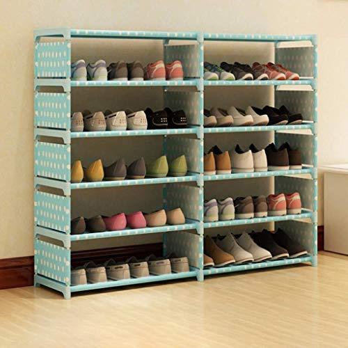 Zapatero para muebles, caja de almacenamiento de zapatero de tela de lona de 6 niveles con cubierta a prueba de polvo, para hasta 36 pares de zapatos, 120 cm * 30 cm * 85 cm (ancho x ancho x alto) (Co