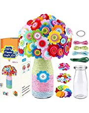 LEHSGY Flower Craft Kit for Kids - Colorful Button & Felt Flowers, Vase Art Toy & Craft Project for Children, DIY Activity Gift for Boys & Girls Age 4 5 6 7 8 9 10 Years Old