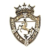 Fnni Vintage Gold Tone Crown Horese Pin Brooch Retro Crystal Shield Badge Lapel Pin for Men Women (Gold)