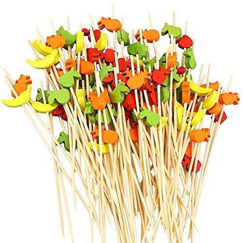 100 Piezas Palitos de Cóctel de Palillos de Bambú para Cóctel Palillos de Madera Palillos de Bambú Brocheta de Frutas Palillos de Cóctel de Varillas de Cóctel De Frutas De Cóctel Palos Cóctel Madera