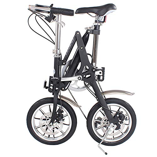 DRAKE18 Bicicleta Plegable, Mini Bicicleta Plegable 16 Pulgadas, 7 velocidades, Velocidad Variable, Doble Freno de Disco Plegable, Hombres y Mujeres Adultos, Viajes al Aire Libre,Black