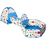 EocuSun 3-in-1 Folding 3pc Kids Play Tent with Tunnel,Play Crawl Tunnel for Boys,Girls,Babies & Toddlers Ball Pit Pop Up Playhouse Tent with Zippered Storage Bag (Blue)