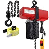Partsam 2200lbs Chain Lift Electric Hoist Single Phase 10ft Lift Height Overhead Crane Ceiling Winch Hook Mount G80 Chain Hoist 1 Ton w/Pendant Control and Towing Strap Sling (1Ton, 110V)