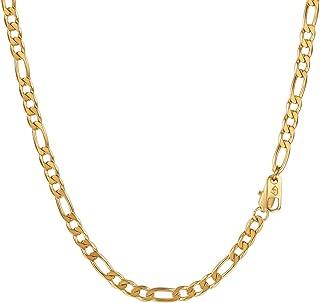 PROSTEEL Collar Hombre de Cadena 3+1 Figaro 6mm/7.5mm/10mm Ancho de Acero Inoxidable Collar Eslabones Longitud 36cm/46cm/51cm/55cm/61cm/66cm/71cm/76cm Dorado/Negro/Plateado Opcional