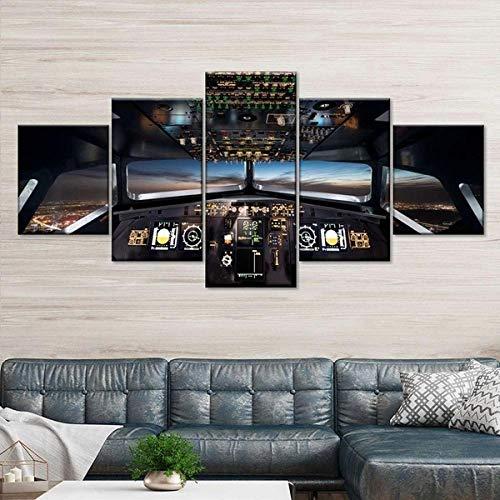 QWASD Avión De Cabina Eléctrico Impresión De Lienzo 5 Paneles Cuadro En Lienzo Moderno Impresión De 5 Piezas Impresión Artística Imagen Gráfica Decoracion De Pared - Enmarcado 150 * 80Cm
