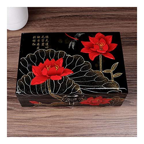 Joyero con tapa de vidrio Caja de almacenamiento de joyería de madera vintage retro con espejo chino tradicional pintado a mano joyería de joyería de tesore organizador de joyería organizador de trink