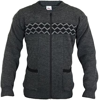 Mens Knitted Cardigan with Full Zip UP Textured Pattern Knit Grandad Style Zig Zag Print Zipper Gents Classic Cardi Made in UK 2 Front Pockets Ribbed Cuff and Hem Warm Grey Blue