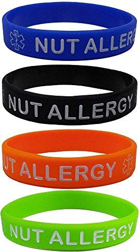 Max Petals NUT Allergy - Pulseras de silicona para niños (4 unidades), color azul, naranja, verde y negro
