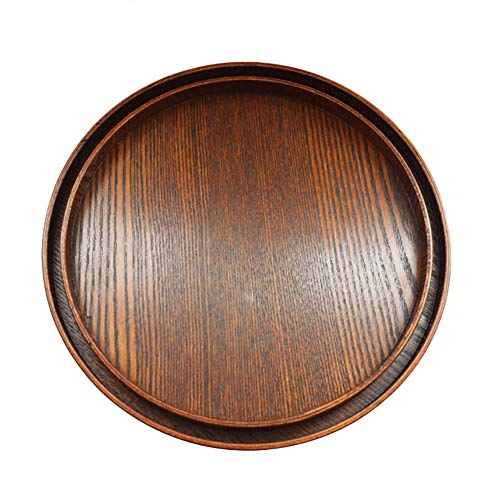 Toruiwa - Bandeja redonda de madera para servir postres y repostería (S-21 cm) L-30cm