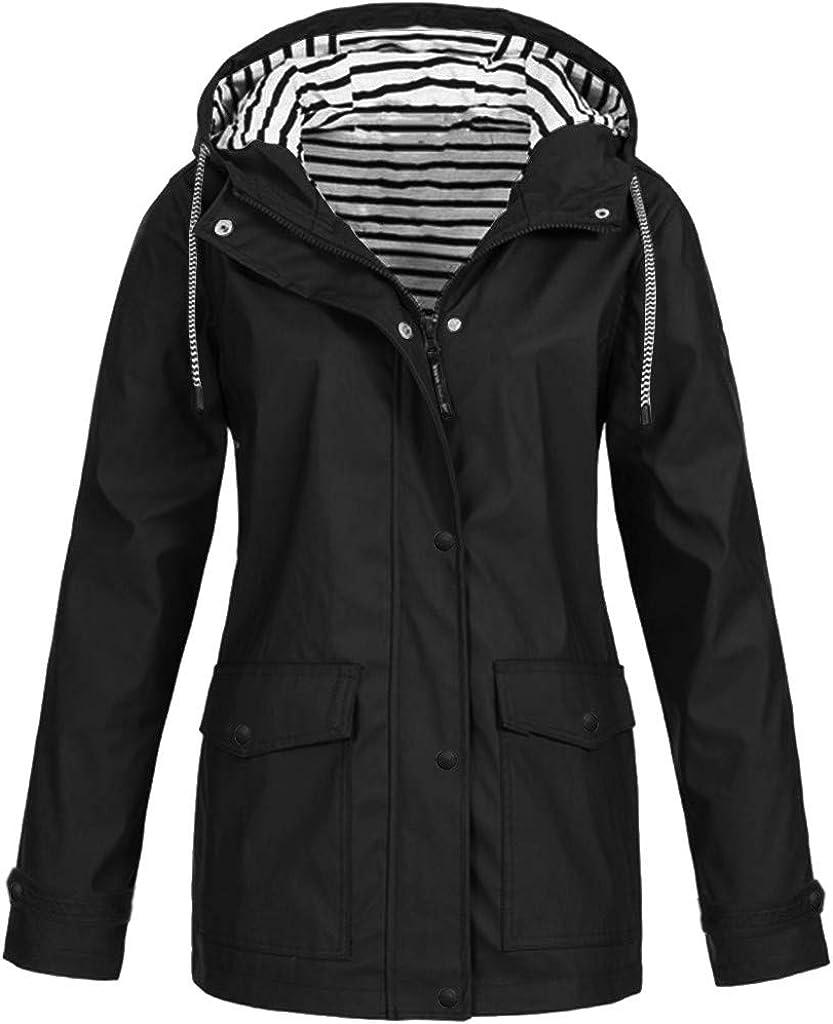 VEKDONE Womens Plus Size Raincoat Waterproof Trench Coat Outdoor Hooded Light Rain Jacket Packable Windbreaker S-5XL