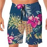 DDdiy Pineapple Flower Leaves Swim Trunks Beach Board Shorts For Men
