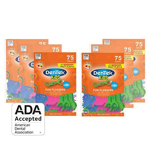Dentek Lot de 6 paquets de 75 porte-fil dentaires pour enfants Parfum fruits Prise en main facile pour les enfants