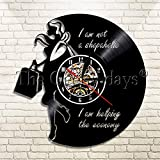FDGFDG Shopaholic Lady Vinyl Record Reloj de Pared Chica de Moda Reloj de Pared Decoración del hogar Reloj de Pared para Novia Esposa Regalo