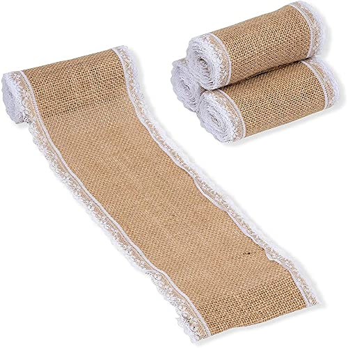 Burlap Ribbon with Lace Trim, Sewing Accessories and Supplies (2 Yards, 4-Pack)