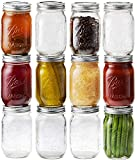 Ball Mason Jars 16 oz/Pint - 12 Regular Mouth Jars with Airtight lids & Bands - For Canning,...